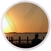 Sunrise Over Assateaque Round Beach Towel by Donald C Morgan