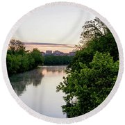 Sunrise Over Austin Texas Round Beach Towel by Art Block Collections
