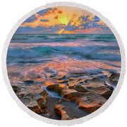Round Beach Towel featuring the photograph Sunrise Over Carlin Park In Jupiter Florida by Justin Kelefas