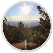Sunrise Over Colorado Springs Round Beach Towel