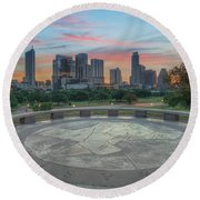 Sunrise Over Downtown Austin, Texas 3 Round Beach Towel by Rob Greebon