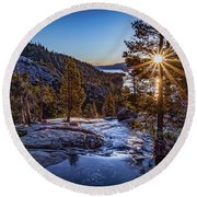 Sunrise Over Emerald Bay Round Beach Towel by Janis Knight