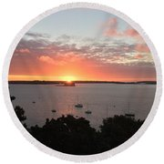Sunrise Over Fort  Gorges Casco Bay Portland Maine Round Beach Towel