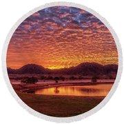 Sunrise Over Gila Mountain Range Round Beach Towel by Robert Bales