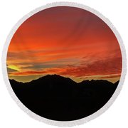 Sunrise Over Gila Mountains Round Beach Towel by Robert Bales