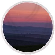 Round Beach Towel featuring the photograph Sunrise Over Hills Of Moravian Tuscany by Jenny Rainbow