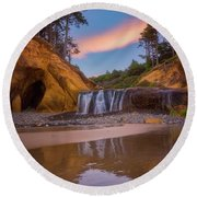 Round Beach Towel featuring the photograph Sunrise Over Hug Point by Darren White