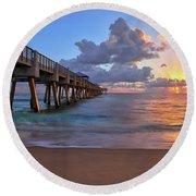 Sunrise Over Juno Beach Pier In Florida Round Beach Towel