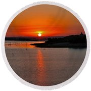Round Beach Towel featuring the photograph Sunrise Over Lake Ray Hubbard by Diana Mary Sharpton