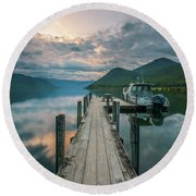 Sunrise Over Lake Rotoroa Round Beach Towel
