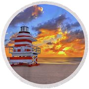 Round Beach Towel featuring the photograph Sunrise Over Lifegaurd Stand On South Miami Beach  by Justin Kelefas