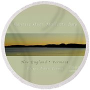 Sunrise Over Malletts Bay Greeting Card And Poster - Six V4 Round Beach Towel