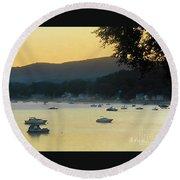 Sunrise Over Malletts Bay Panorama - Nine V2 Detail Round Beach Towel by Felipe Adan Lerma