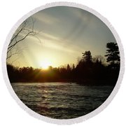 Sunrise Over Mississippi River Round Beach Towel by Kent Lorentzen