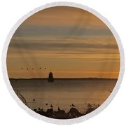 Sunrise Over New Bedford Round Beach Towel