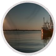 Sunrise Over New Bedford, Round Beach Towel