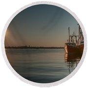 Sunrise Over New Bedford, Round Beach Towel