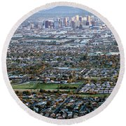 Sunrise Over Phoenix Arizona Round Beach Towel
