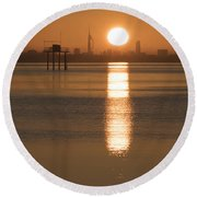 Sunrise Over Portsmouth Round Beach Towel