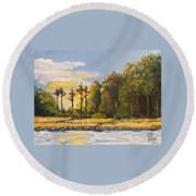 Sunrise Over Queens Creek Round Beach Towel