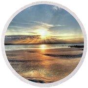 Sunrise Over Red Rock Park Lynn Ma Kings Beach Round Beach Towel