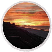 Sunrise Over Santa Rosa Beach Round Beach Towel