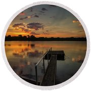 Sunrise Over Stuber's Dock V Round Beach Towel