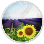 Sunrise Over Sunflower And Lavender Field Round Beach Towel