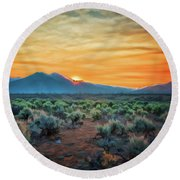 Sunrise Over Taos II Round Beach Towel