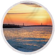 Sunrise Over Thacher Island From Long Beach In Gloucester Ma Golden Sunrise Round Beach Towel
