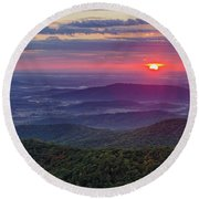Round Beach Towel featuring the photograph Sunrise Over The Blue Ridge by Lori Coleman