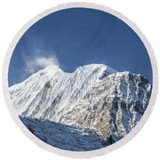 Sunrise Over The Gangapurna Peak At 7545m In The Himalayas In Ne Round Beach Towel