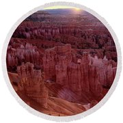 Sunrise Over The Hoodoos Bryce Canyon National Park Round Beach Towel