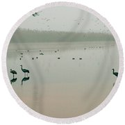 Sunrise Over The Hula Valley Israel 2 Round Beach Towel by Dubi Roman