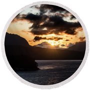 Sunrise Over The Inland Passage Round Beach Towel