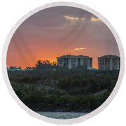 Sunrise Over The Intracoastal Round Beach Towel by Nance Larson