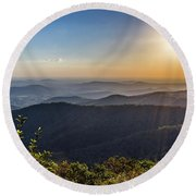 Round Beach Towel featuring the photograph Sunrise Over The Misty Mountains by Lori Coleman