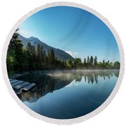 Round Beach Towel featuring the photograph Sunrise Over The Mountain And Through The Tree by Darcy Michaelchuk