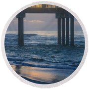 Sunrise Over The Pier Round Beach Towel