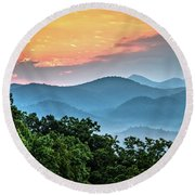Round Beach Towel featuring the photograph Sunrise Over The Smoky's by Douglas Stucky