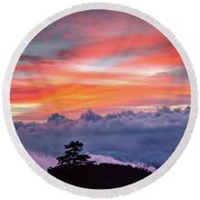 Round Beach Towel featuring the photograph Sunrise Over The Smoky's II by Douglas Stucky