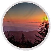 Round Beach Towel featuring the photograph Sunrise Over The Smoky's IIi by Douglas Stucky