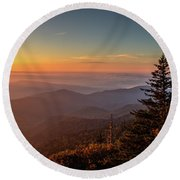 Round Beach Towel featuring the photograph Sunrise Over The Smoky's V by Douglas Stucky