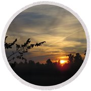 Sunrise Over The Trees Round Beach Towel