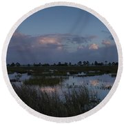 Sunrise Over The Wetlands Round Beach Towel