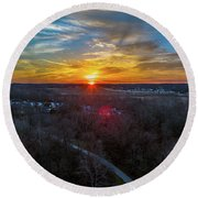 Sunrise Over The Woods Round Beach Towel