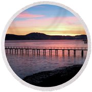 Sunrise Over Tomales Bay Round Beach Towel