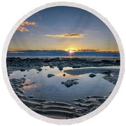 Round Beach Towel featuring the photograph Sunrise Over Wells Beach by Rick Berk
