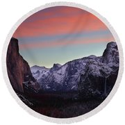 Round Beach Towel featuring the photograph Sunrise Over Yosemite Valley In Winter by Jetson Nguyen