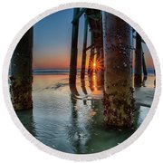 Sunrise Pier Round Beach Towel